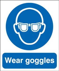 Wear Goggles Mandatory Safety Sign - Portrait