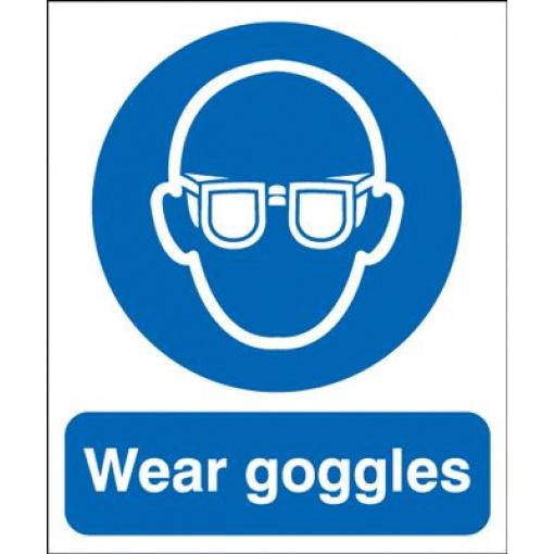 Wear Goggles Mandatory Safety Sign - Portrait