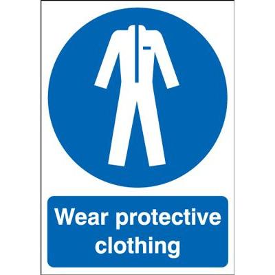Wear Protective Clothing Mandatory Safety Sign - Portrait