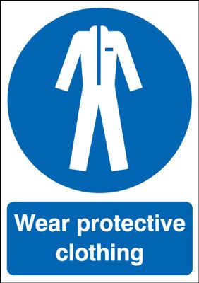 Wear Protective Clothing Mandatory Safety Sign - Portrait
