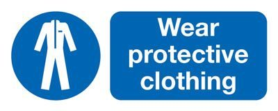 Wear Protective Clothing Mandatory Safety Sign - Landscape
