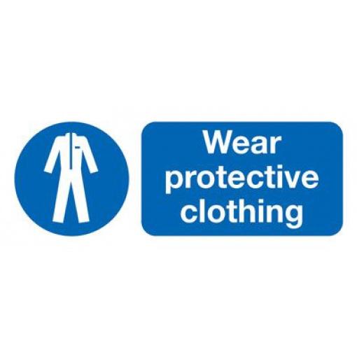 Wear Protective Clothing Mandatory Safety Sign - Landscape