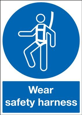 Wear Safety Harness Mandatory Safety Sign - Portrait
