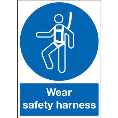 Wear Safety Harness Mandatory Safety Sign - Portrait