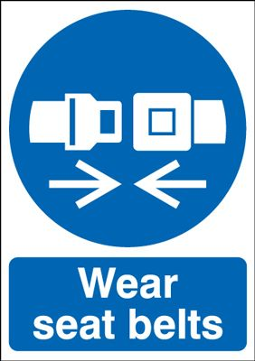 Wear Seat Belts Mandatory Safety Sign - Portrait