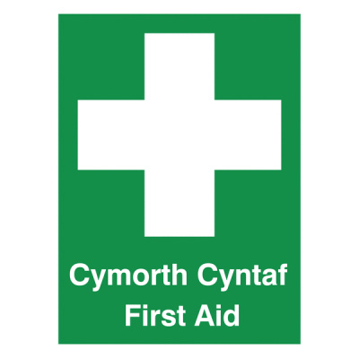 Welsh / English First Aid Multilingual Safety Sign