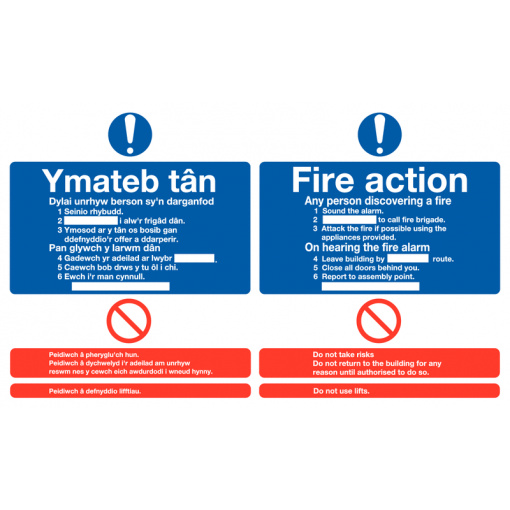 Welsh / English Fire Action Multilingual Safety Sign