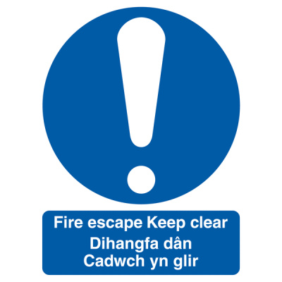 Welsh / English Fire Escape Keep Clear Multilingual Safety Sign