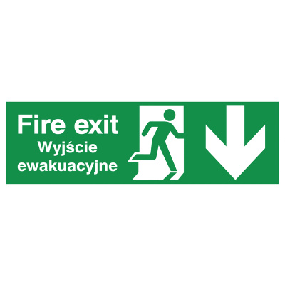 English/Polish Fire Exit (Symbol) Arrow Down Safety Sign