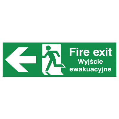 English/Polish Fire Exit (Symbol) Arrow Left Safety Sign