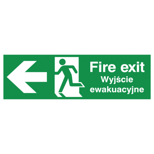 English/Polish Fire Exit (Symbol) Arrow Left Safety Sign
