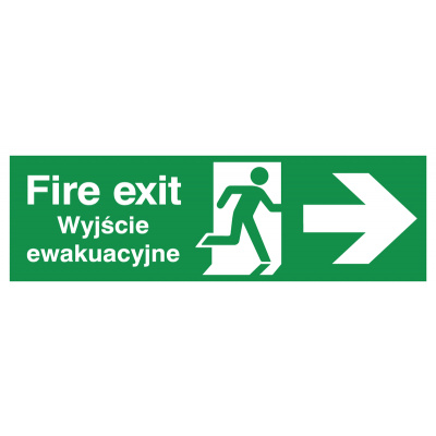 English/Polish Fire Exit (Symbol) Arrow Right Safety Sign