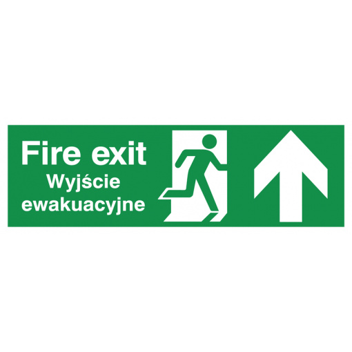 English/Polish Fire Exit (Symbol) Arrow Up Safety Sign