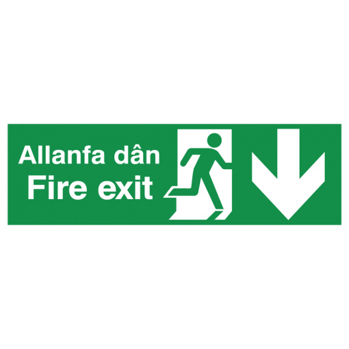 English/Welsh Fire Exit (Symbol) Arrow Down Safety Sign