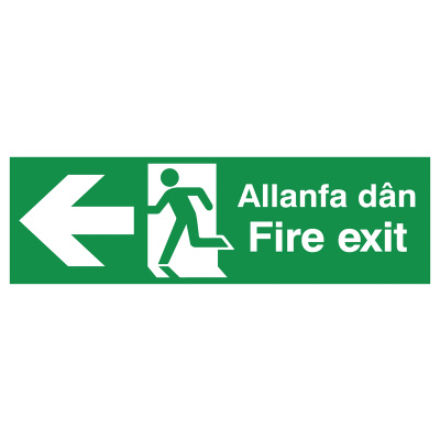 English/Welsh Fire Exit (Symbol) Arrow Left Safety Sign