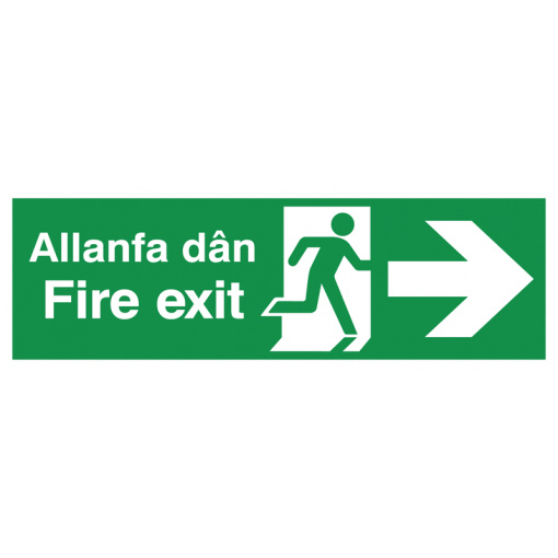 English/Welsh Fire Exit (Symbol) Arrow Right Safety Sign