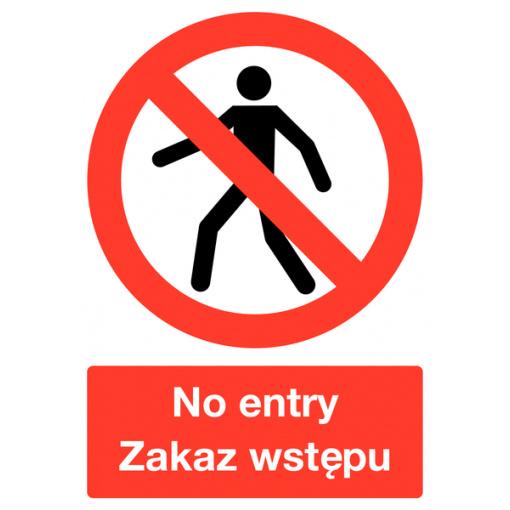 Polish / English No Entry Multilingual Safety Sign
