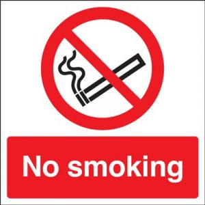 No Smoking Safety Sign - Square with wording