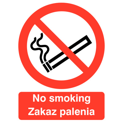 No Smoking Polish / English Multilingual Safety Sign - Landscape