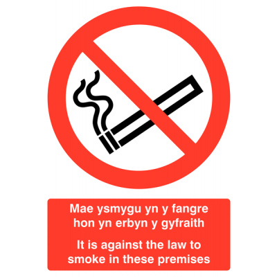 Welsh / English No Smoking Multilingual Safety Sign