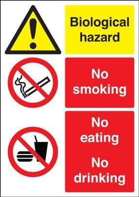 Biological Hazard & No Smoking Eating Or Drinking Multi Message Safety Sign - Portrait