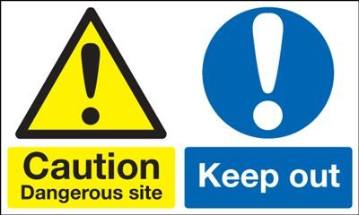 Caution Dangerous Site Keep Out Multi Message Safety Sign - Landscape
