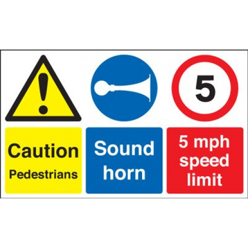 Caution Pedestrians 5 MPH Speed Limit Safety Sign - Landscape