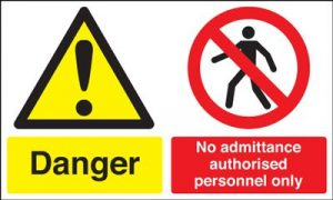 Danger No Admittance Authorised Personnel Only Safety Sign - Landscape