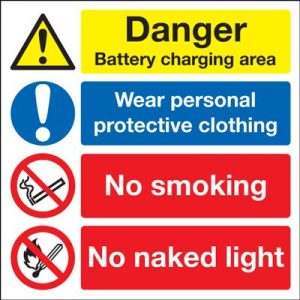 Battery Charging Area / Wear Protective Clothing Safety Sign