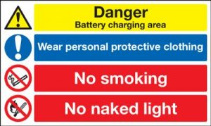 Battery Charging Area / Wear Protective Clothing Safety Sign - Landscape