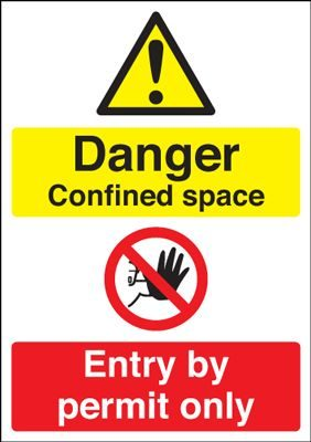 Danger Confined Space Entry By Permit Safety Sign - Portrait