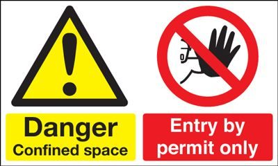 Danger Confined Space Entry By Permit Only Safety Sign - Landscape