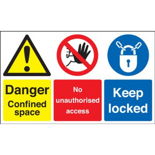 Danger Confined Space / No Unauthorised Access / Keep Locked Safety Sign