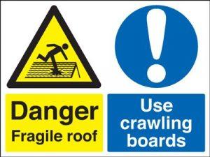 Danger Fragile Roof Use Crawling Boards Multi Message Safety Sign - Landscape