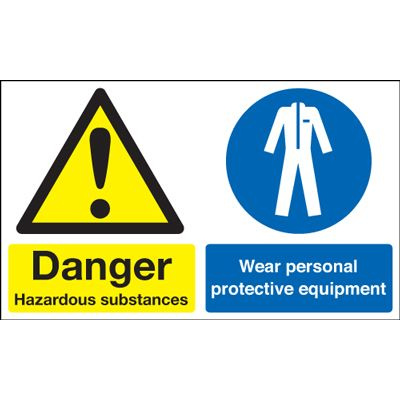 Hazardous / Wear Protective Equipment Multi-Message Safety Sign