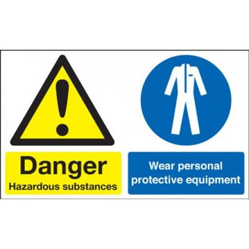 Hazardous / Wear Protective Equipment Multi-Message Safety Sign