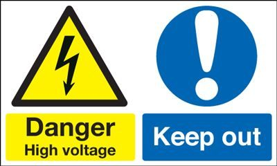 Danger High Voltage Keep Out Multi Message Safety Sign - Landscape