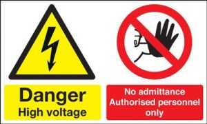 Danger High Voltage No Admittance Safety Sign - Landscape