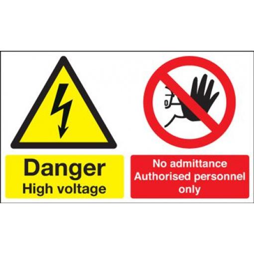 Danger High Voltage No Admittance Safety Sign - Landscape