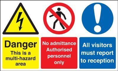 Danger Multi Hazard Area Visitors Report To Reception Safety Sign