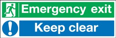 Emergency Exit Keep Clear Multi Message Safety Sign - Landscape