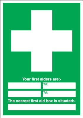 First Aiders Are / First Aid Box Situated Safety Sign