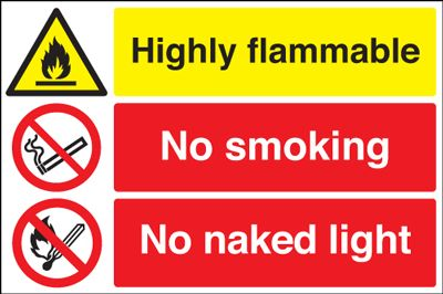 Highly Flammable / No Smoking Safety Sign - Landscape
