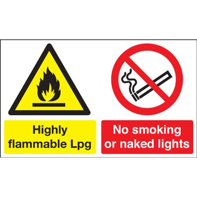 Highly Flammable LPG / No Smoking Safety Sign - Landscape