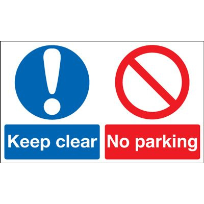 Keep Clear No Parking Multi Message Safety Sign - Landscape