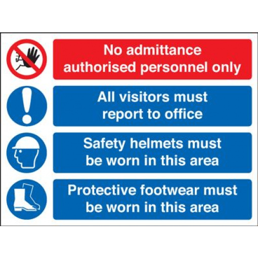 No Admittance Helmets & Protective Footwear Must Be Worn Safety Sign