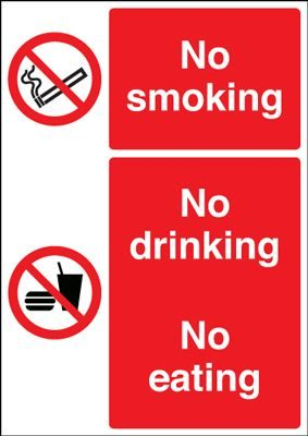 No Smoking No Drinking No Eating Safety Sign - Portrait