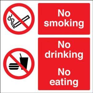 No Smoking No Drinking No Eating Safety Sign