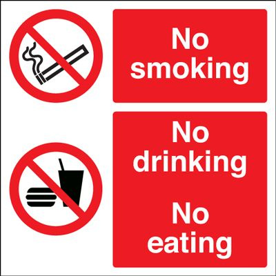 No Smoking No Drinking No Eating Safety Sign