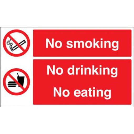 No Smoking No Drinking No Eating  Safety Sign - Landscape